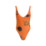 Leaves Pine Cones Low Back One-Piece Swimsuit (Model S09)