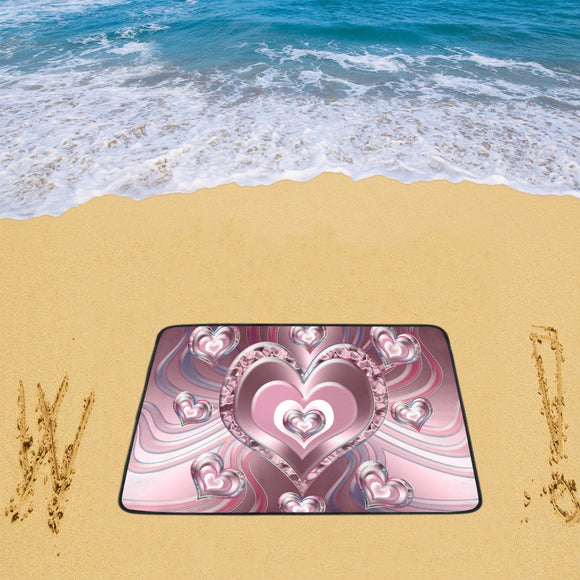 River Flowing Hearts Beach Mat 78