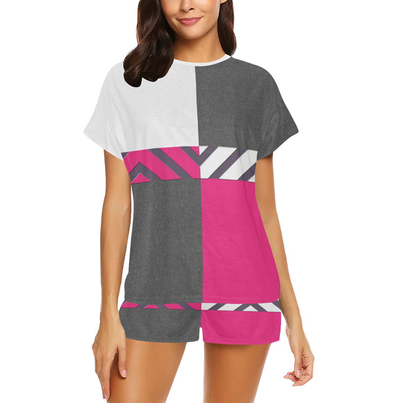 Monochrome Pink Tiles Women's Short Pajama Set (Sets 01)