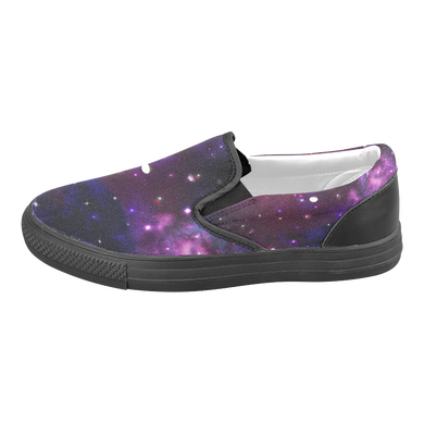 Midnight Blue Purple Galaxy Men's Slip-on Canvas Shoes (Model 019)