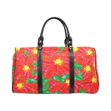 Red Orange Poinsettias New Waterproof Travel Bag/Large (Model 1639)