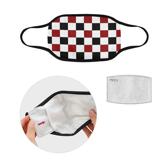 Black Red White Checker Mouth Mask in One Piece (2 Filters Included) (Model M02)