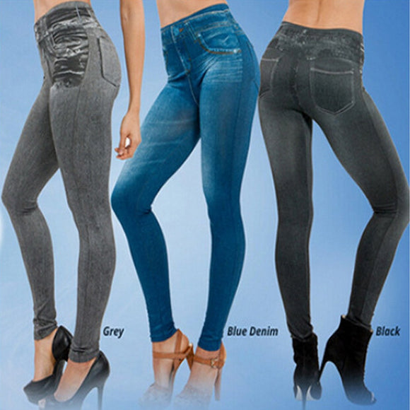 Women Fashion Faux Denim Jeans Leggings Real Pocket Pencil Pants Plus Size