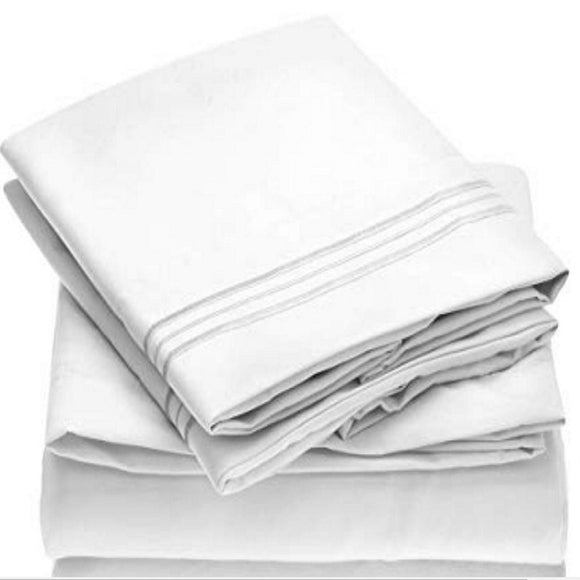 Solid Color Flat Fitted Sheets Pillowcases Bed Linens