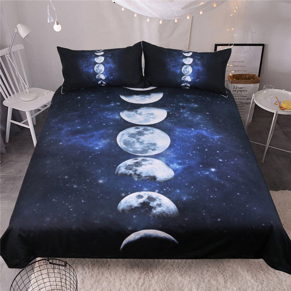Moon Eclipse Changing Galaxy Printed Quilt Duvet Cover Pillowcases 3D Bed Set 3-Piece