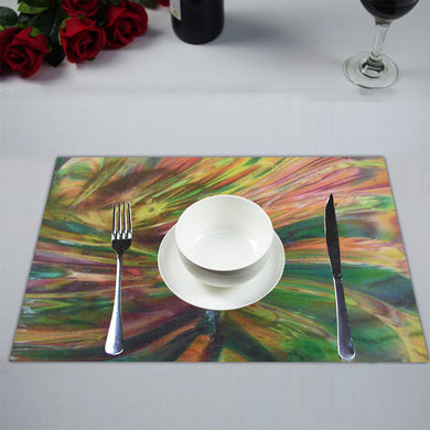 Abstract Colorful Glass Placemat 14'' x 19'' (Two Pieces)