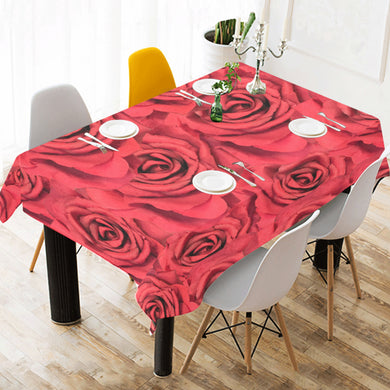 Radical Red Roses Cotton Linen Tablecloth 52