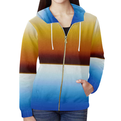 Browns into Blues All Over Print Full Zip Hoodie for Women (Model H14)