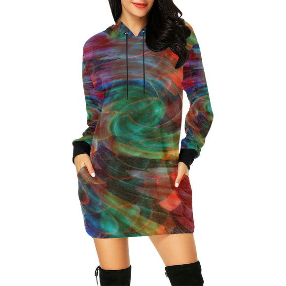Ray of Twirls All Over Print Hoodie Mini Dress (Model H27)