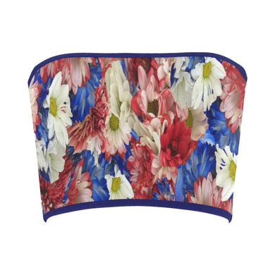 Red White Blue Flora Bandeau Top