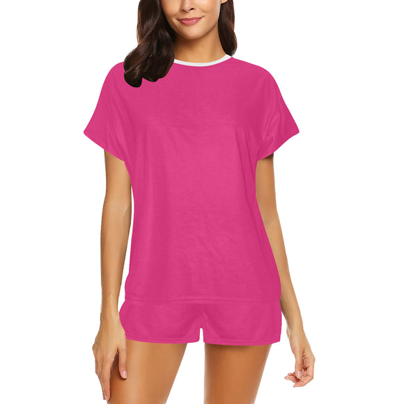 Deep Cerise Cubic Women's Short Pajama Set (Sets 01)