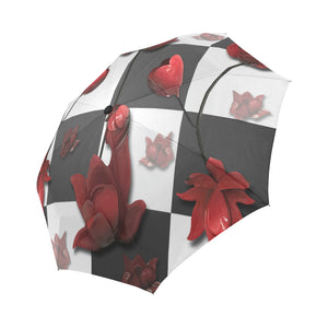 Burnt Crimson Flora Auto-Foldable Umbrella