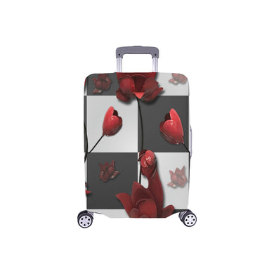 Burnt Crimson Flora Luggage Cover/Small 24'' x 20''
