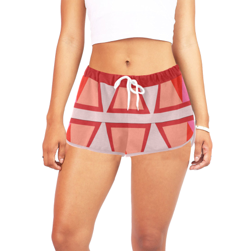 Shades of Red Patchwork Women's All Over Print Relaxed Shorts (Model L19)