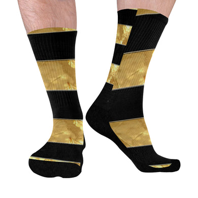 Black Gold Stripes Mid-Calf Socks (Black Sole)