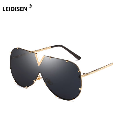 LEIDISEN Unisex One Piece Designer High Quality Oversized Metal UV400 Mirror Sunglasses