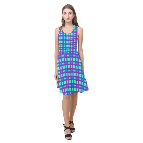 Bluish Plaid Atalanta Casual Sundress(Model D04)