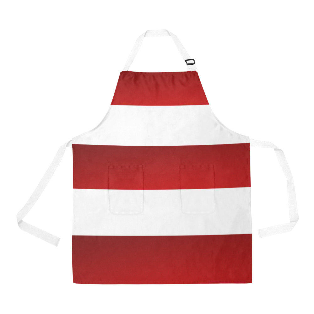 Red White Stripes All Over Print Apron