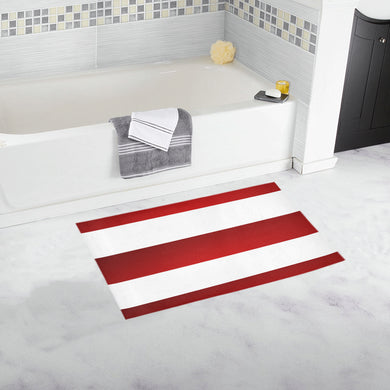 Red White Stripes Bath Rug 16''x 28''