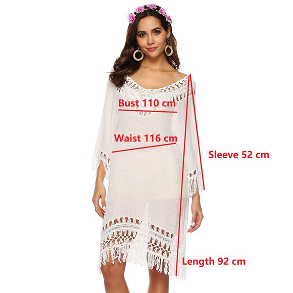 BKNING Kaftan Tunic Dress Women Swimsuit Cover Up Bohemia V-Neck Cotton Beachwear