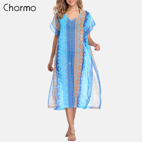 Charmo Women Beach Cover Up Kaftan Bikini Chiffon Tassel See-through Swimsuit