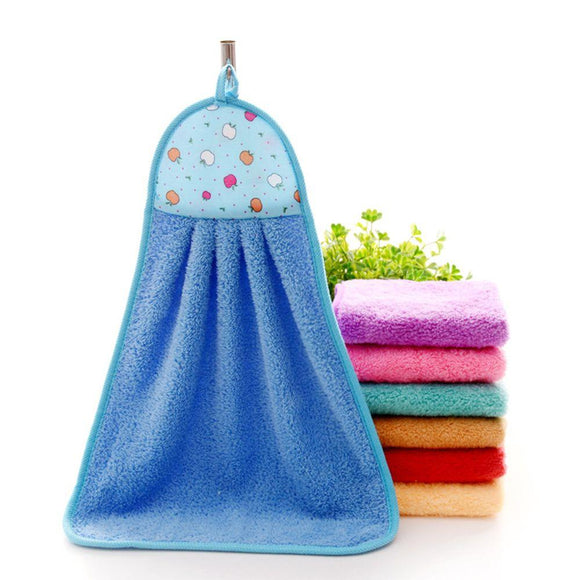 Thick Microfiber Hand Kitchen Towel Hanging Cloth Soft Absorbent