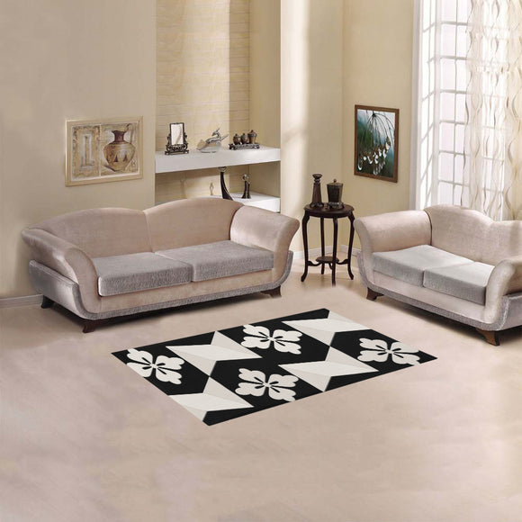 Black White Tiles Area Rug 2'7