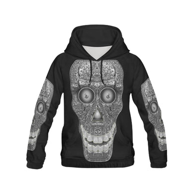 Cod Grey Skull Head All Over Print Hoodie for Women (USA Size) (Model H13)
