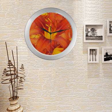 Orange Daylilies Silver Color Wall Clock