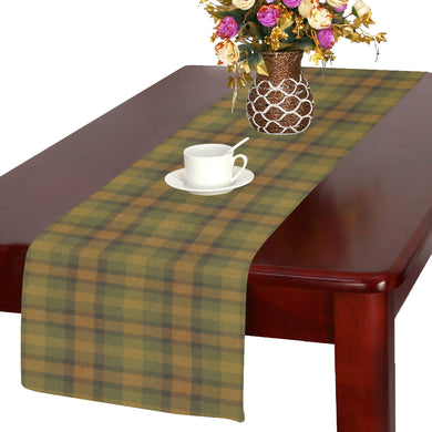 Gold Olive Plaid Table Runner 14x72 inch