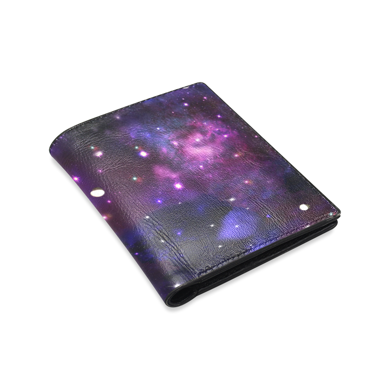 Midnight Blue Purple Galaxy Men's Leather Wallet (Model 1612)