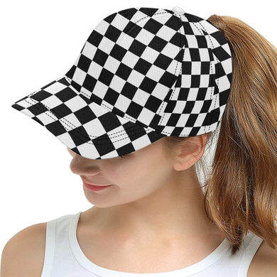 Black White Checkers All Over Print Snapback Hat D