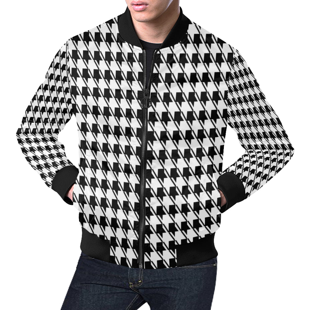 33856777b Black White Houndstooth All Over Print Bomber Jacket for Men (Model H19)