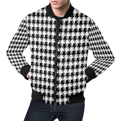 Black White Houndstooth All Over Print Bomber Jacket for Men (Model H19)