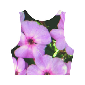 Fuschia Flowers Women's Crop Top (Model T42)