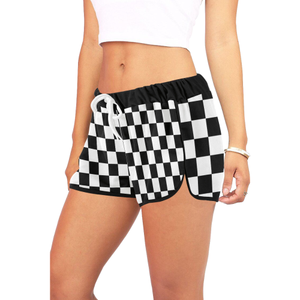 Black White Checkers Women's All Over Print Relaxed Shorts (Model L19)