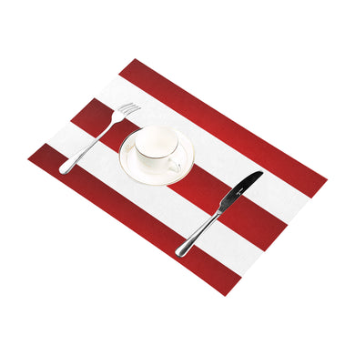 Red White Stripes Placemat 12'' x 18'' (Four Pieces)