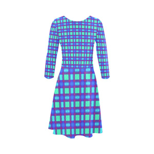 Bluish Plaid 3/4 Sleeve Sundress (D23)