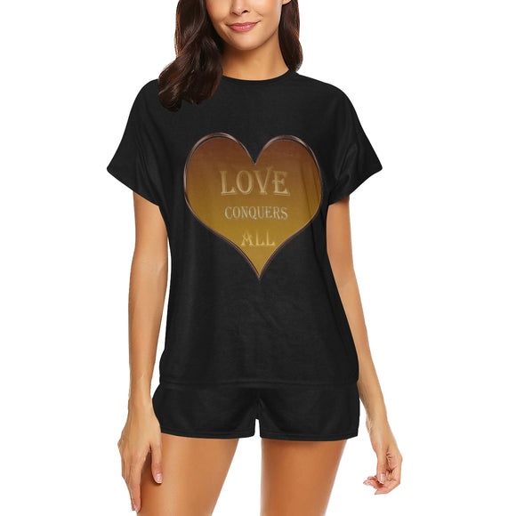 Love Conquers All Heart Women's Short Pajama Set (Sets 01)