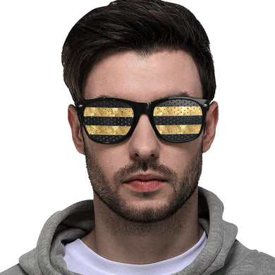 Black Gold Stripes Custom Goggles (Perforated Lenses)