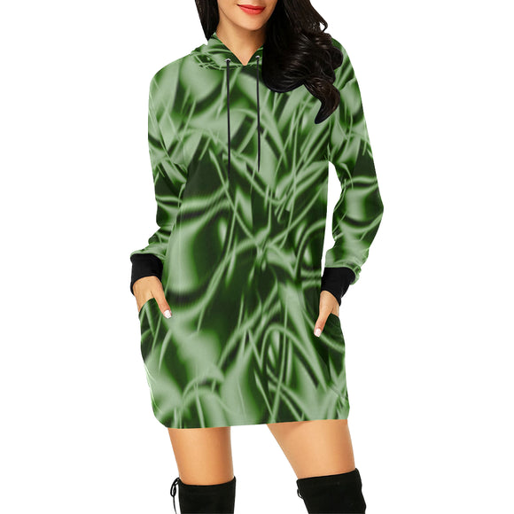 Palm Leaf Dell All Over Print Hoodie Mini Dress (Model H27)