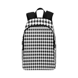 Black White Houndstooth Fabric Backpack for Adult (Model 1659)