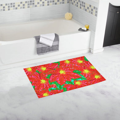 Red Orange Poinsettias Bath Rug 16''x 28''