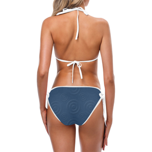 Prussian Blue Bird Eye Custom Bikini Swimsuit (Model S01)