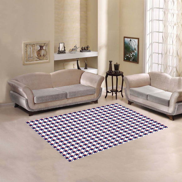 Red White Blue Houndstooth Area Rug 5'3''x4'