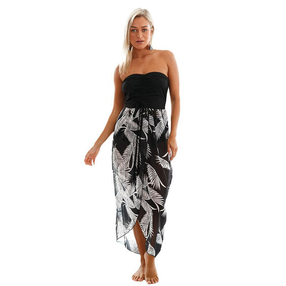 Women's Unique Tassels Multi-Color Printed Beach Skirt