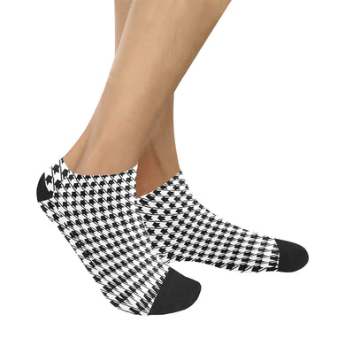 Black White Houndstooth Women's Ankle Socks