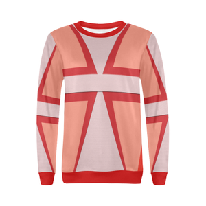 Shades of Red Patchwork All Over Print Crewneck Sweatshirt for Women (Model H18)