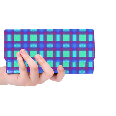Bluish Plaid Women's Trifold Wallet (Model 1675)