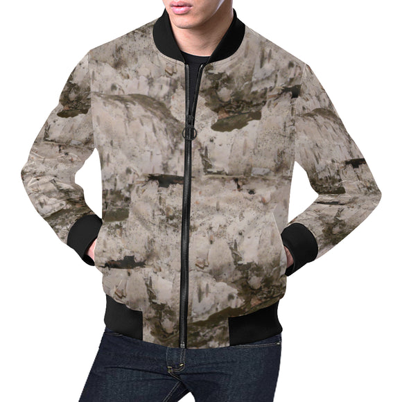 White Birch Bark All Over Print Bomber Jacket for Men/Large Size (Model H19)